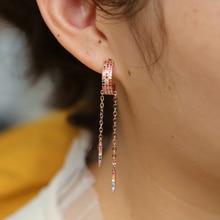 цена на Classic Gold color Colorful CZ Rainbow Geometric Drop charm Earrings for Women Fashion gorgeous women Jewelry