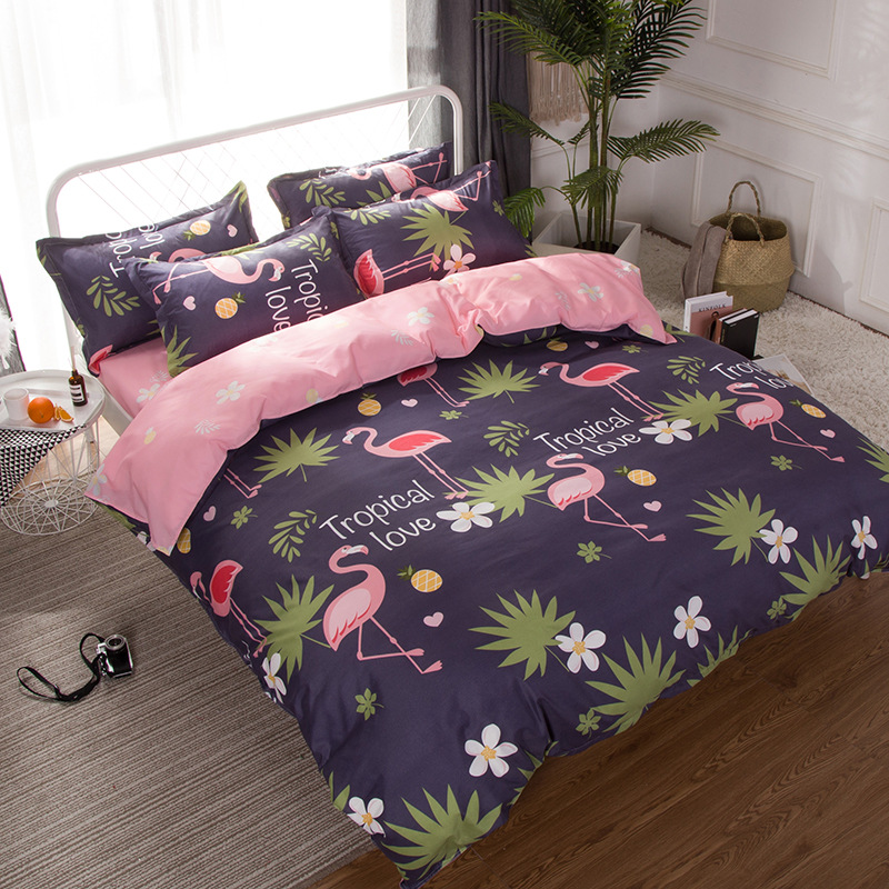 luxury comforter set 3D flamingos bedding sets cotton bed cove Leaf Flamingos duvet cover bedsheet -Soft and comfortable bedding