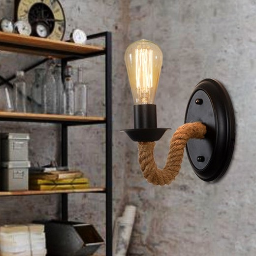 nordic loft style rope edison wall sconce vintage wall. Black Bedroom Furniture Sets. Home Design Ideas