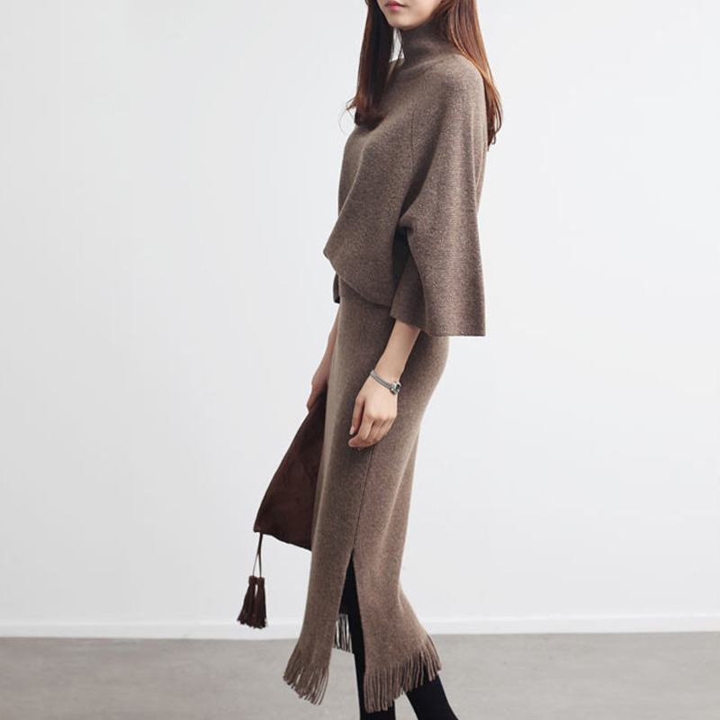 2 piece set women fashion sweater autumn knit suit loose hooded high collar shirt and tassel bag hip skirt elegant suit female in Women 39 s Sets from Women 39 s Clothing