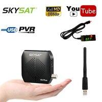 Skysat Mini Size Full HD Digital Satellite Receiver DVB S2 MPEG 4 HD AC3 Support WiFi Youtube iks cs Cline Decode Power Vu Biss