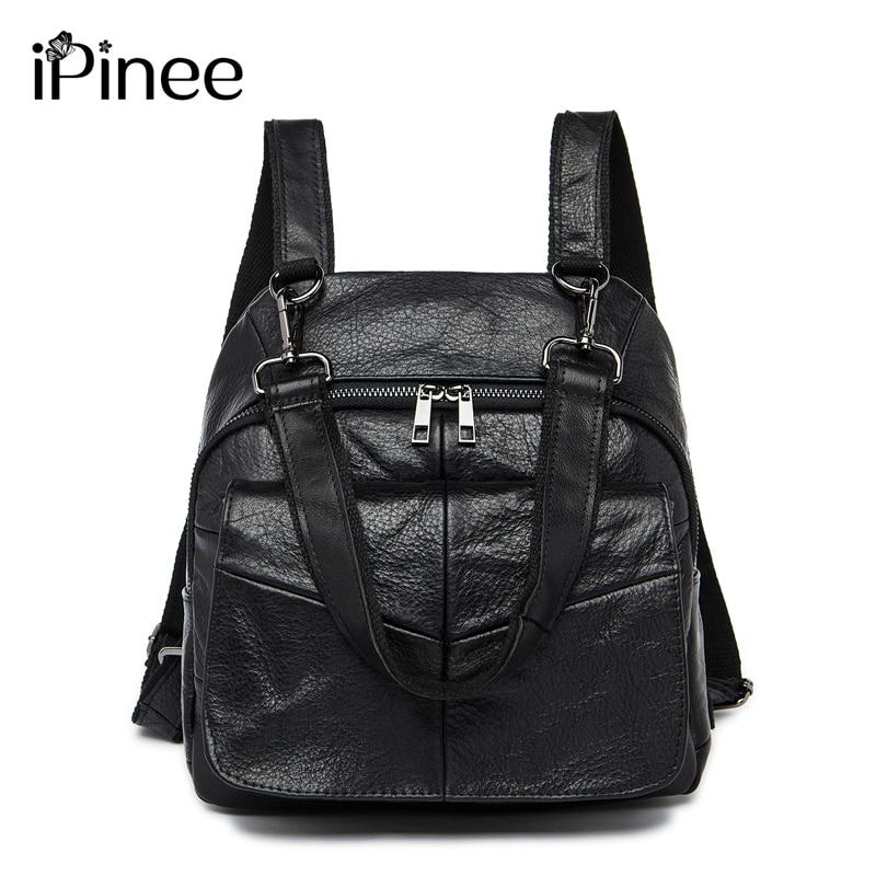 c501207eb67e IPinee Новое поступление 2018 женский рюкзак для ноутбука из натуральной  кожи школьная сумка многофункциональная женская сумка