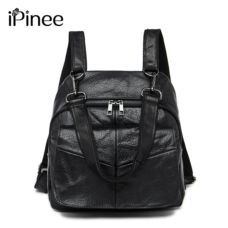 iPinee New Arrival 2017 Female Packsack Laptop Bags Genuine Leather School Bag Multifunctional Women Bag