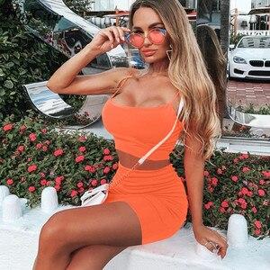 Image 4 - Hugcitar spaghetti trägern sexy camis rock 2 zwei stück set 2019 sommer frauen mode neon grün orange solide partei streetwear