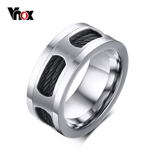 Vnox 10mm Stainless Steel Men's Cable Wire Inlaid Ring High Quality Party Male J