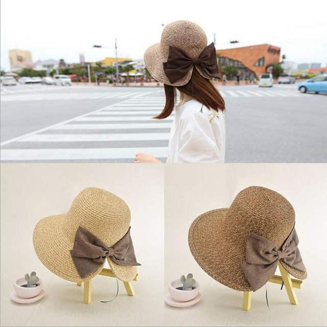 f7662ec4bc7 placeholder Women s Sun Hat Big Bow Wide Brim Floppy Summer Hats For Women  Beach Panama Straw Bucket