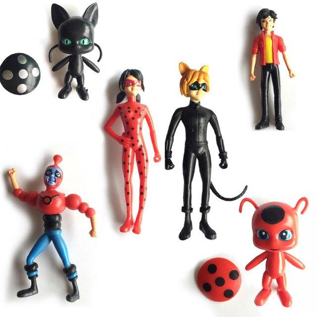 6pcs/set Cartoon Figure Miraculous Ladybug PVC Lady Bug Anime Figurines  Girls Toys For Kids