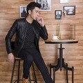 Новый 2016 мужская одежда промытые кожи мужская мода досуга кожа