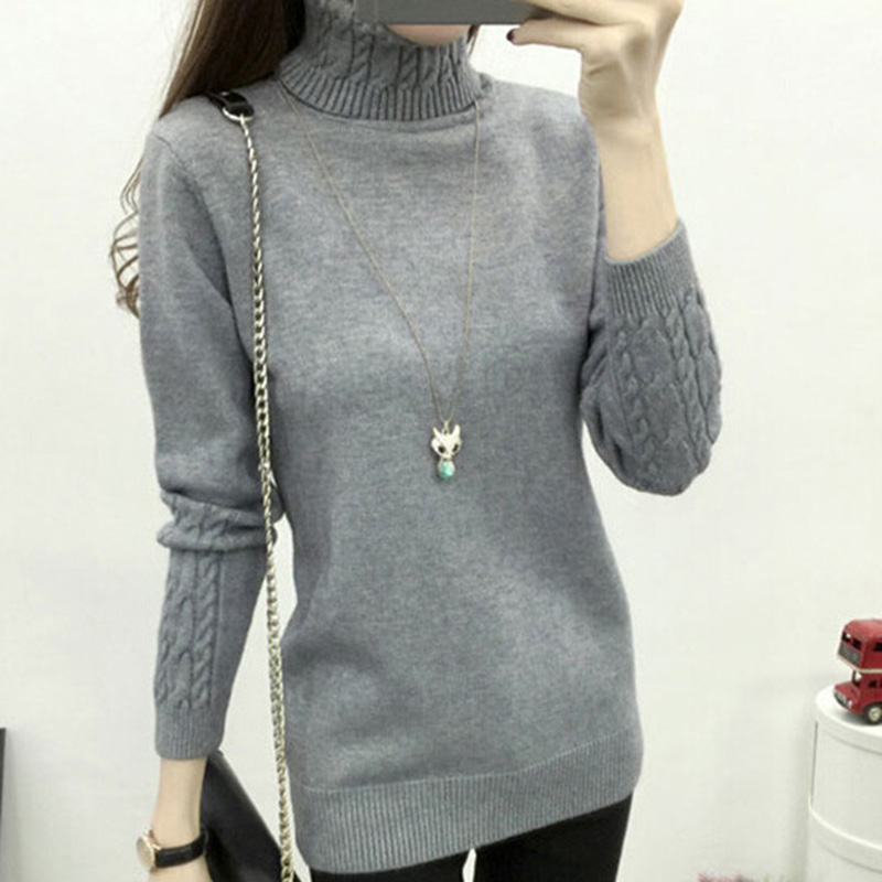 Autumn Winter High Elasticity Soft Female Pullover Warm Turtleneck Sweater Women Knitted Pullovers Femme Pull