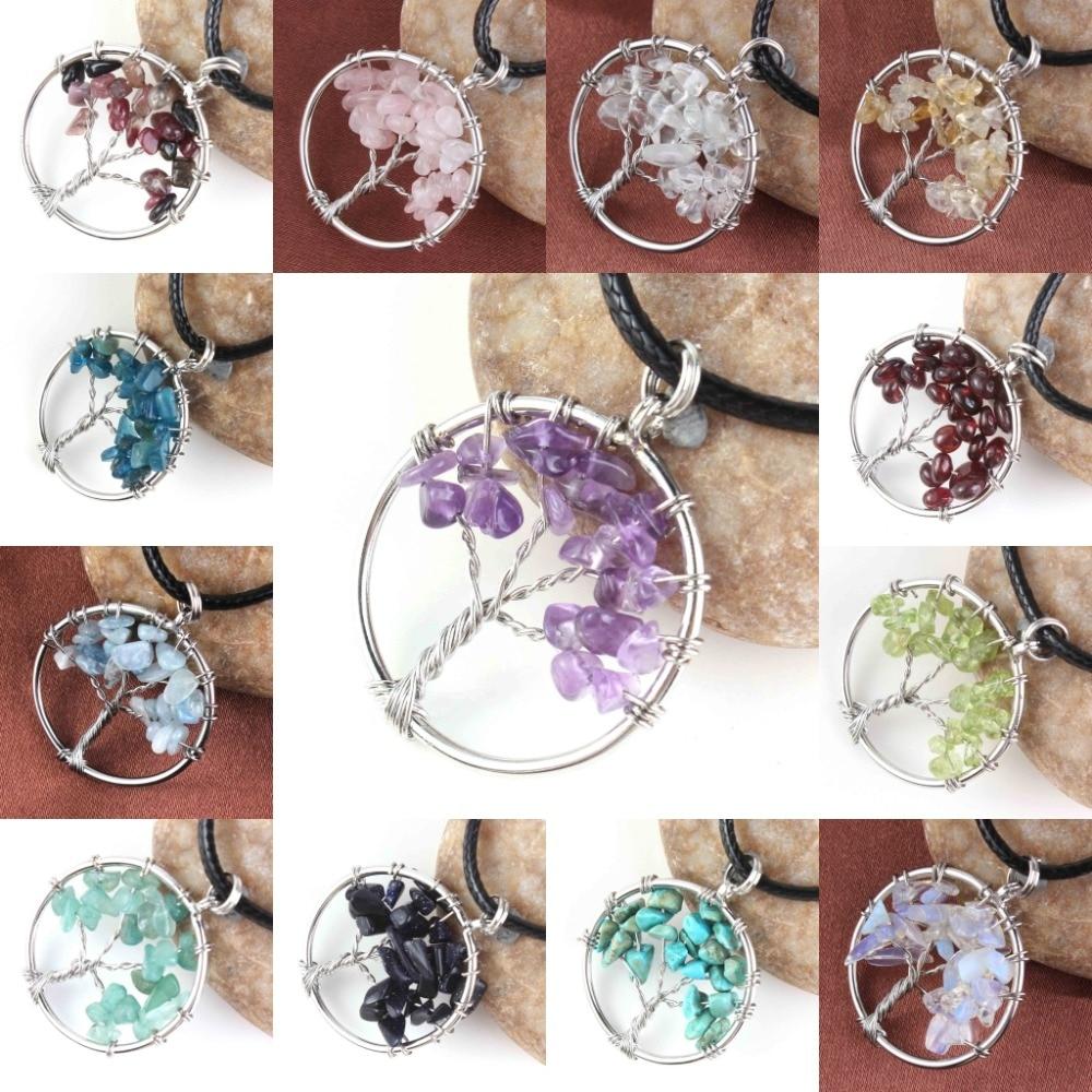 Kraft-beads Banhado A Prata Cristal de Rocha Roxo Ametistas Árvore Da Vida Fio Enrolado Colar Chakra Turmalina Jóias de Opala
