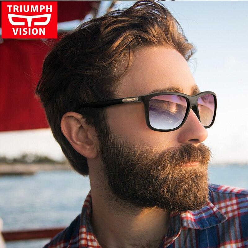 TRIUMPH VISION Square Driving Sunglasses Men Brand Design Gradient Sun Glasses Male Black Matte Polarized Oculos De Sol