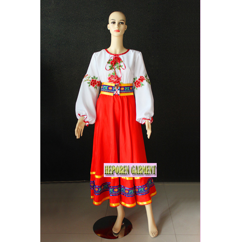 High Quality Kids Russia and Ukraine National Costumes Female Suit Russian Tradtional Clothing Dance Party Dress HF1279
