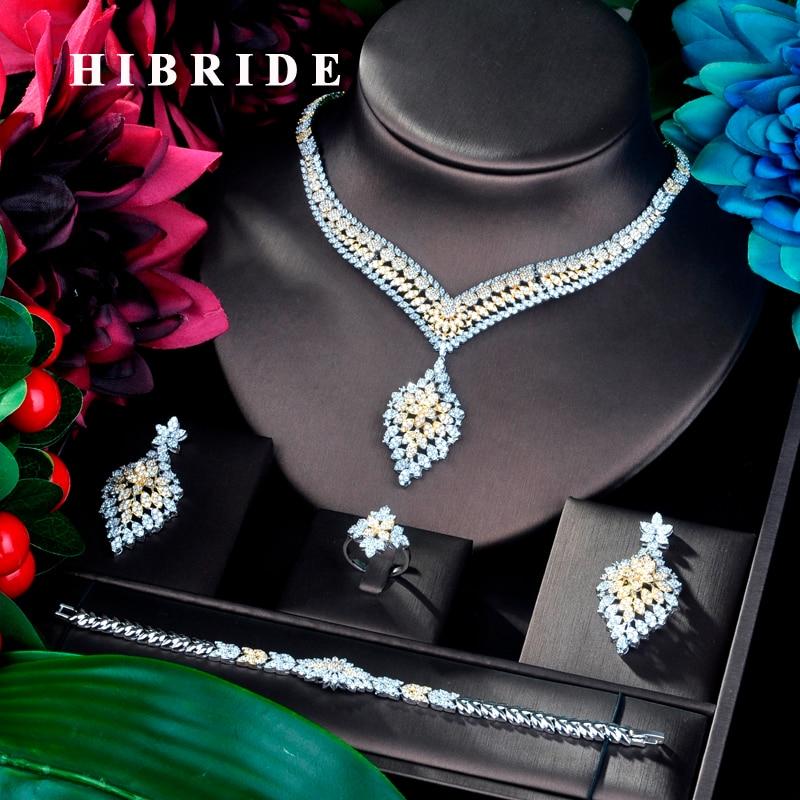 HIBRIDE Unique Luxury Pendant Double Tone Dubai Jewelry Set CZ Earrings Necklace Women Bridal Jewelry Set