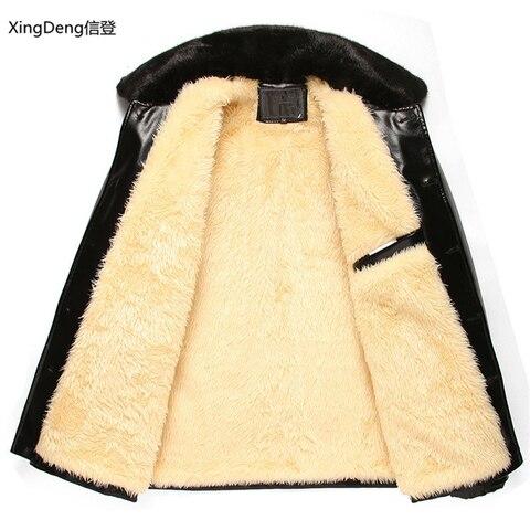 XingDeng Brand Leather Jackets Men Waterproof Zipper Loose Casual dressy tops overcoats Business Winter Male cabi clothes Multan