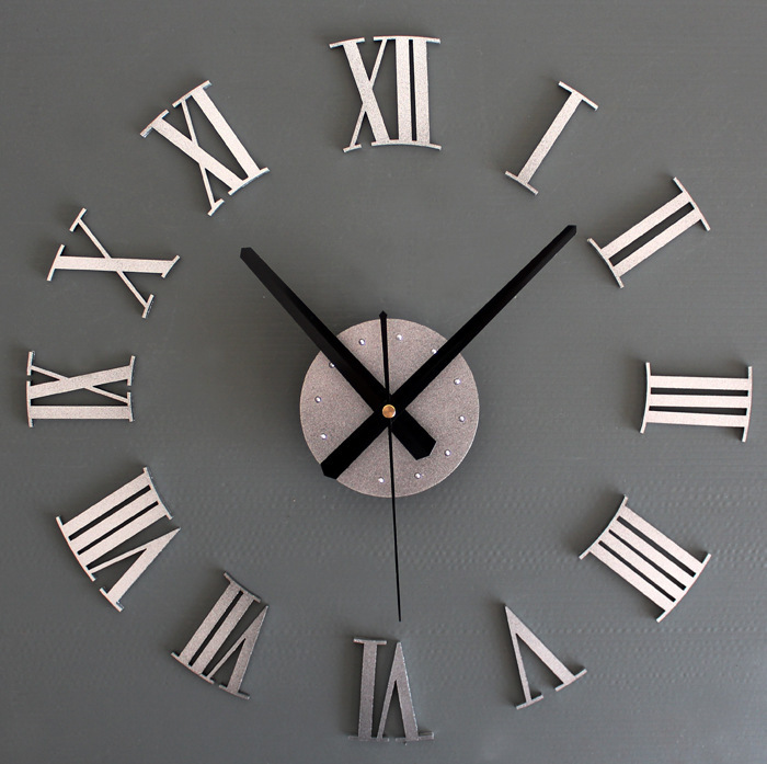 Diy 3d Three Dimensional Metal Texture Roman Numeral Clock