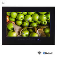Souria 22 inch Android 9.0 Smart Glass for Bathroom Digital Waterproof Black Finish Hotel LED TV