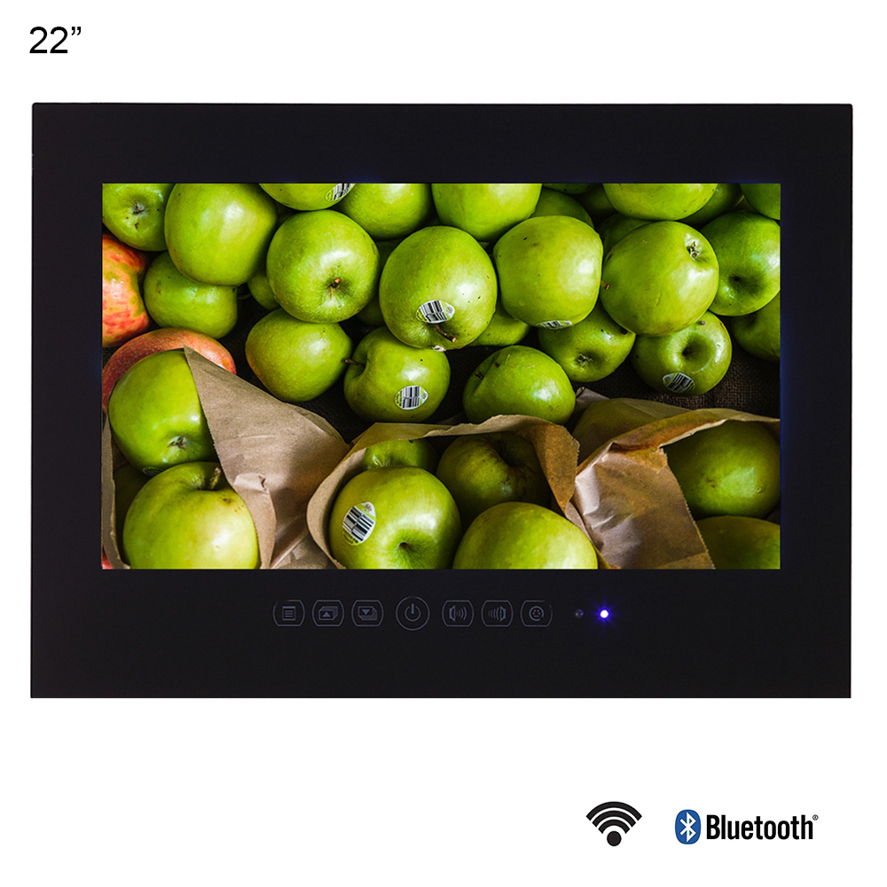 Souria 22 pouces Android 9.0 verre intelligent pour salle de bain numérique étanche noir finition hôtel LED TV