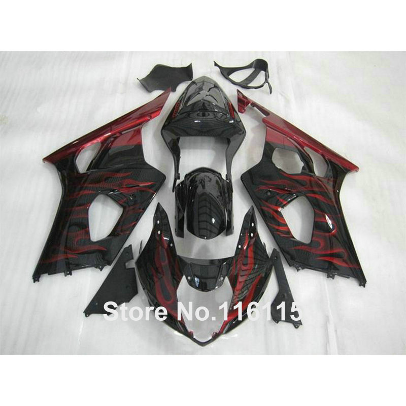 Free customize fairing kit for SUZUKI Injection GSXR1000 K3 K4 2003 2004 red flames black GSXR 1000 03 04 ABS fairings set  HX50 injection mold 100% fit for suzuki gsxr1000 03 04 k3 silver black fairings set gsxr 1000 2003 2004 k4 yi119