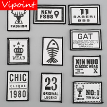 VIPOINT embroidery printed warning patches letter alphabet badges applique for clothing YM-4