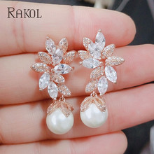 RAKOL Vintage Flower Cubic Zirconia Stone & Imitation Pearls Drop Earrings For Elegant Women Bridal Wedding Ear Jewelry