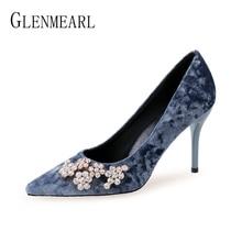 Brand Women Pumps High Heels Shoes Pointed Toe Flower Wedding Spring Autumn Plus Size DE