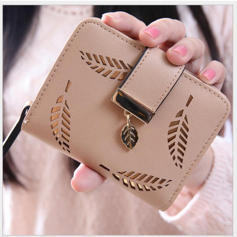 New 2018 Pink Hollow Leaf Short Wallet Women Wallets Small Purse For