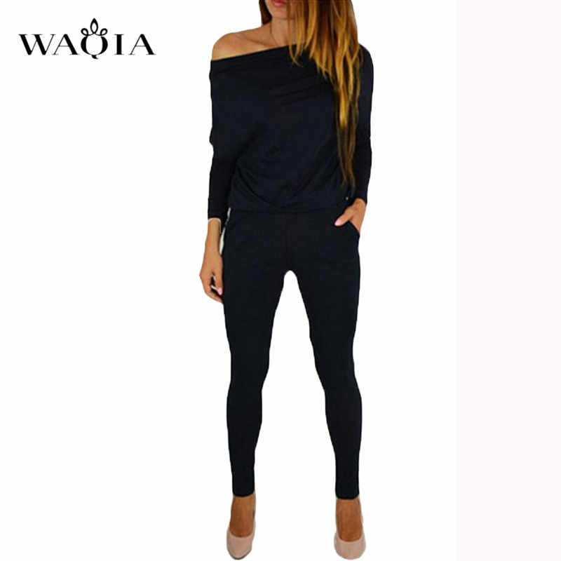 53c6193dce4e ... WAQIA Jumpsuit Women Sexy Off Shoulder Slash Neck Long Sleeve Women Jumpsuit  Elegant Slim Long Pants ...