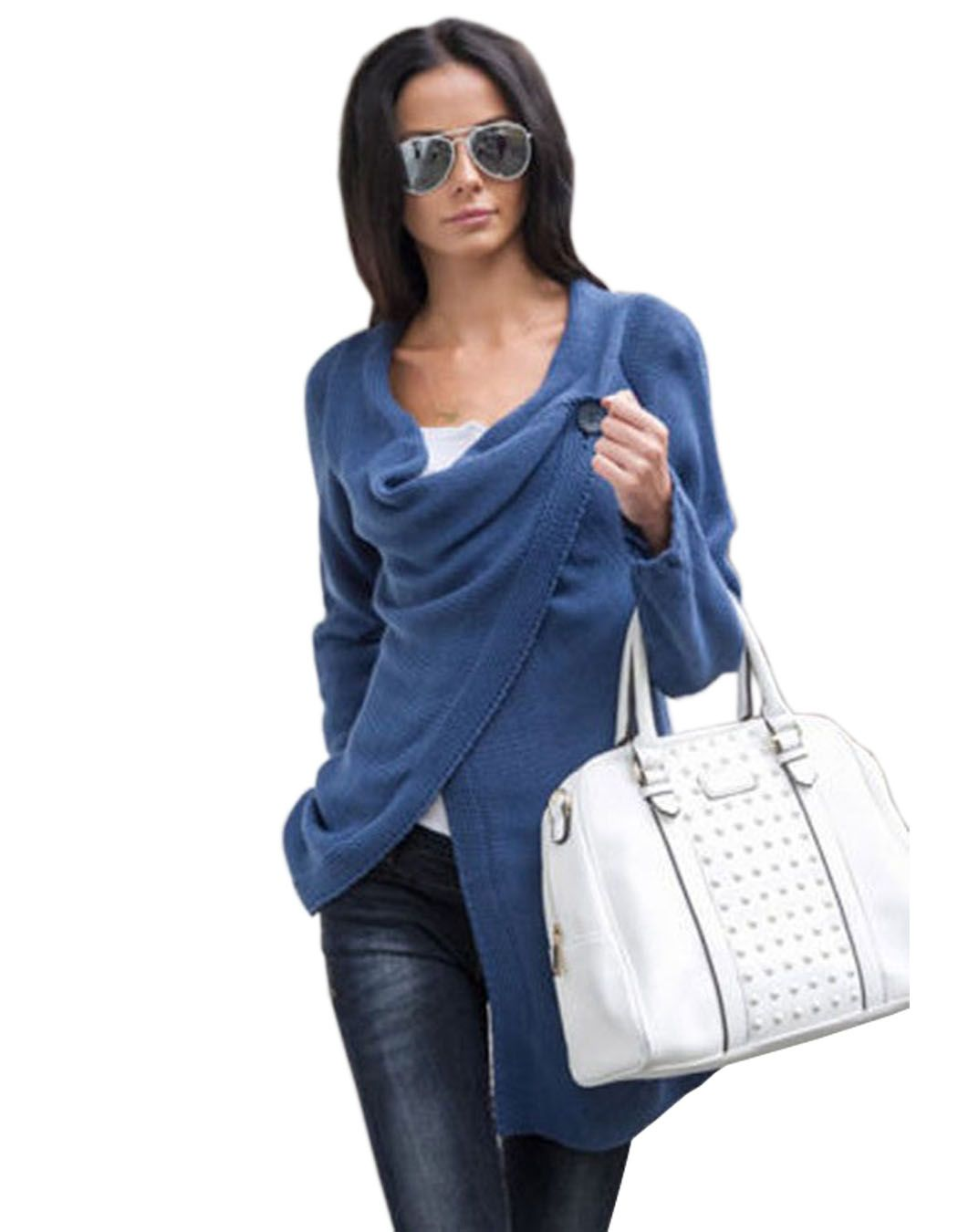 Womens Knitwear Cowl Neck Long Sleeve Jumper Top Ladies Cardigan ...