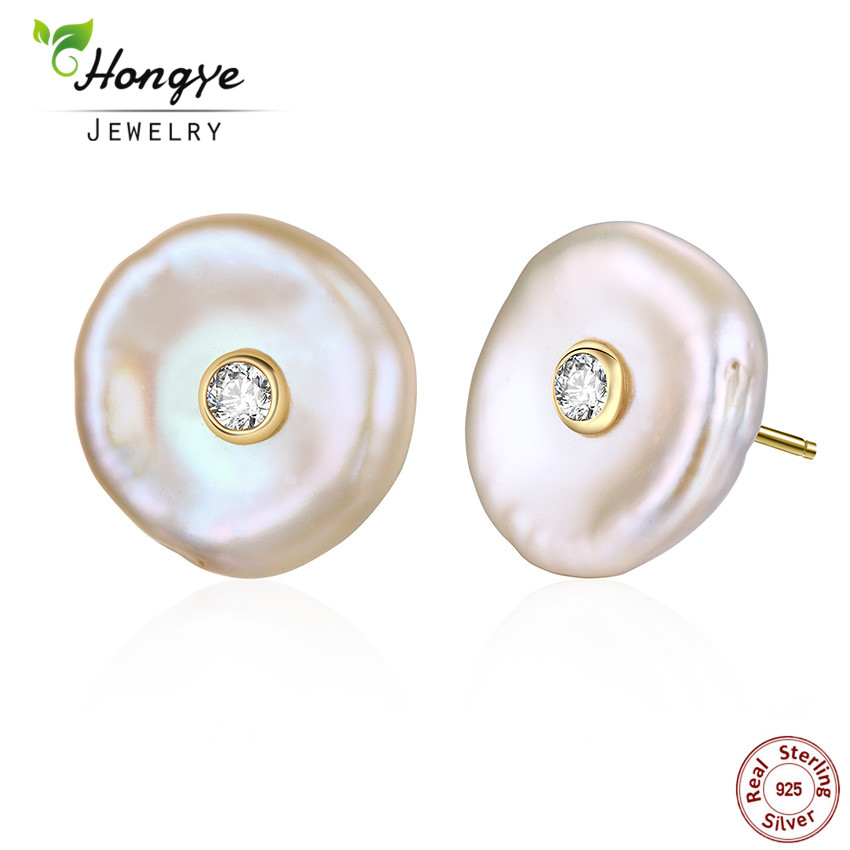 Hongye Women Pearl Stud Earrings 925 Silver Earrings Real Natural Freshwater Pearl Baroque Earrings Flat Brincos woman jewelry(China)