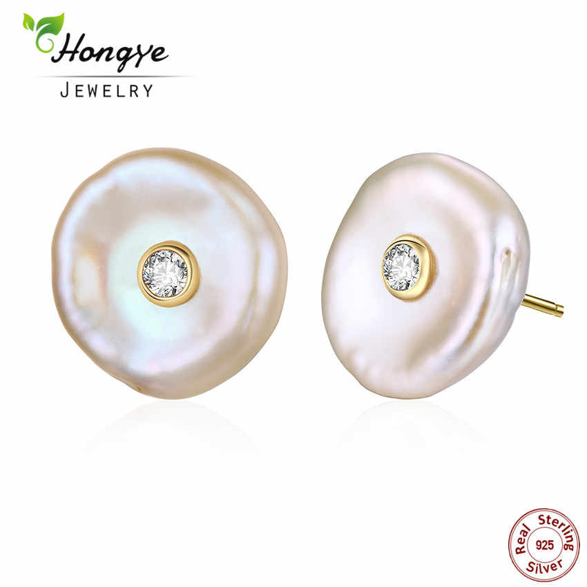 Hongye Women Pearl Stud Earrings 925 Silver Earrings Real Natural Freshwater Pearl Baroque Earrings Flat Brincos woman jewelry