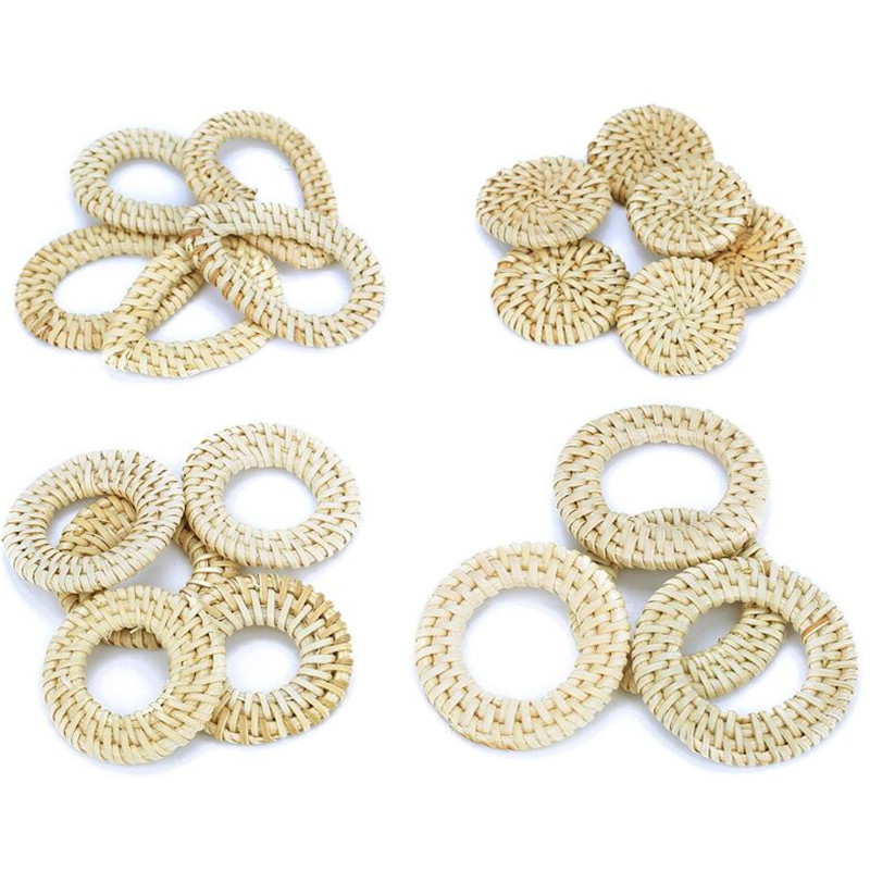 New Handmade Wooden Straw Weave Rattan Geometric Shape Earrings Parts DIY Vine Braid Earring Findings Pick Up Shape  Y1226
