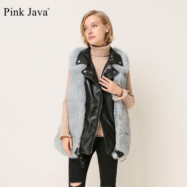 Розовый Java QC1863 Новое поступление женские зимние натуральным лисьим Меховой жилет натуральная кожа жилет весь шкура лисы пальто с мехом Пышное Платье