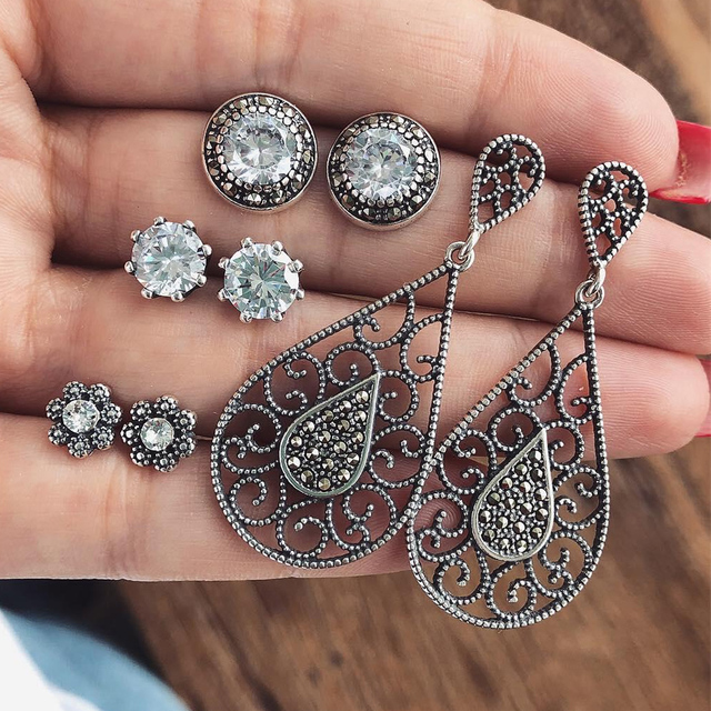 4 Pairs/Set Bijoux Crystal Stud Earrings Set for Woman Boucle D'oreille Jewelry Dazzling Cubic Zirconia Opal Brincos Gifts 2019
