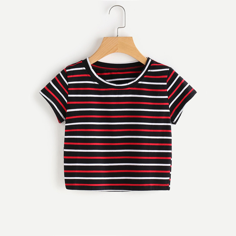 Contrast Striped Casual Multi-color Short Sleeve Women Top Tee