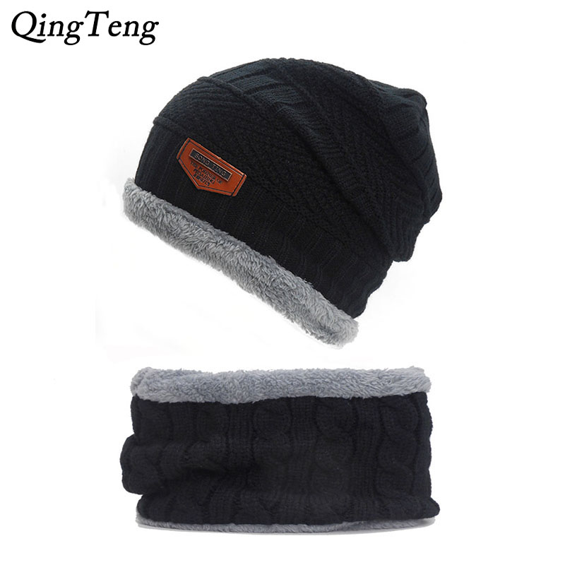Warm Winter Ring Scarf & Beanies Men'S Hat Cap Neck Warmer Winter Hats For Men Women Skullies Beanies Fleece Knitted Hat
