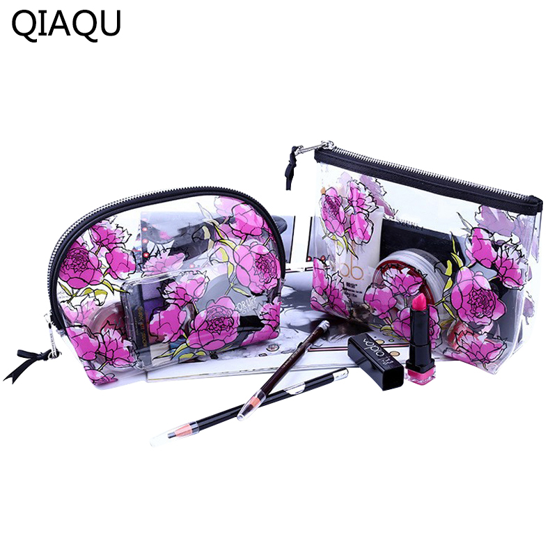 QIAQU Transparent Cosmetic Bags HighQuality PVC Makeup Bags Travel Organizer Necessary Beauty Case Toiletry Bag Wash Makeup Box pvc transparent wash portable organizer case cosmetic makeup zipper bathroom jewelry hanging bag travel home toilet bag