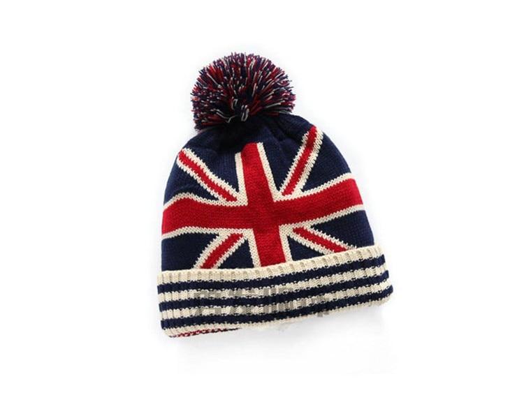 USA Flag Design Knit Pom Skull Cap And Scarf Set
