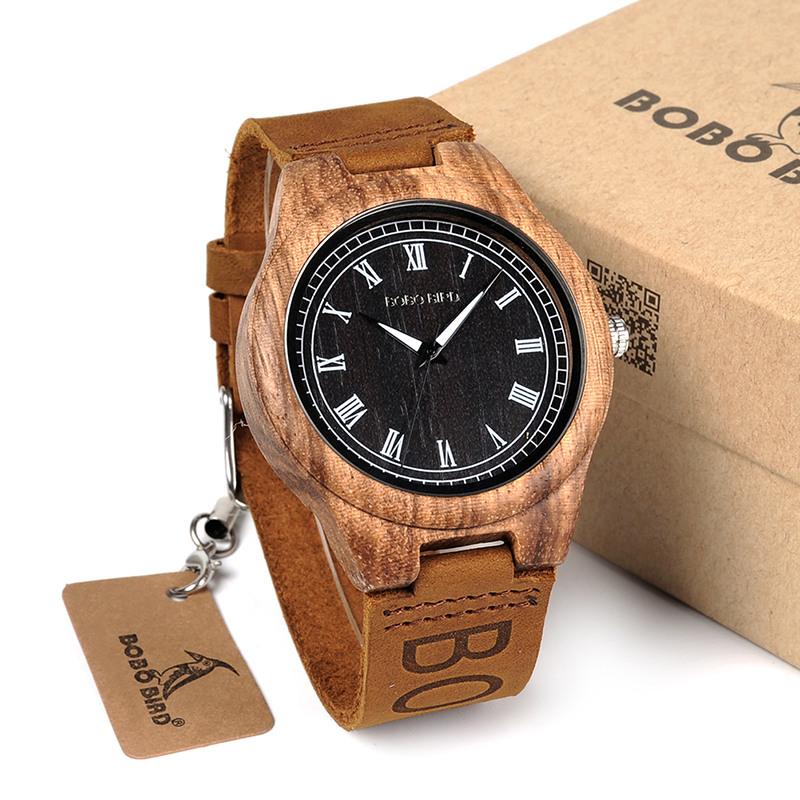 BOBO BIRD Wooden Quartz Watch With Genuine Leather Strap Lightweight Casual Vintage Wooden Wrist Watches Relogio Masculino 2017 bobo bird brand new sun glasses men square wood oversized zebra wood sunglasses women with wooden box oculos 2017