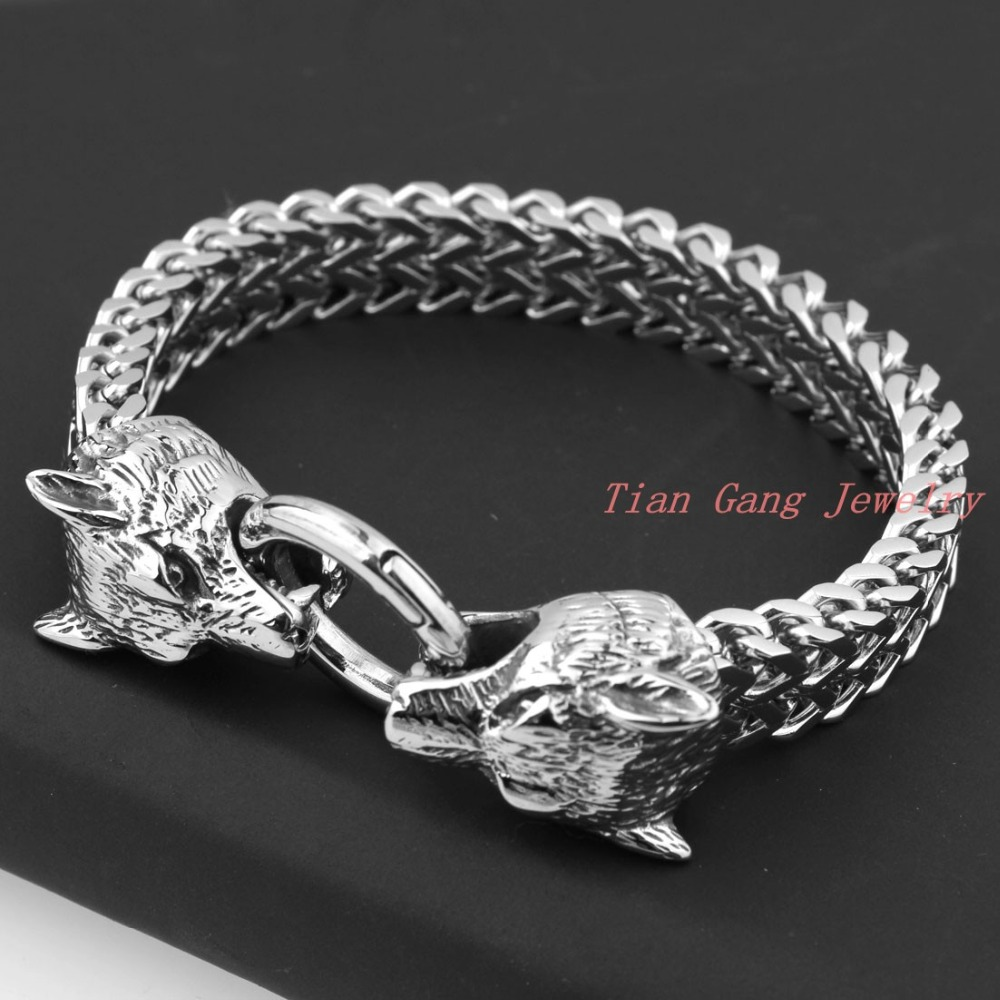 New Design Retro Wolf Head Bracelet For Men Trendy Knight Vintage Silver Stainless Steel Bracelets Boy Jewelry
