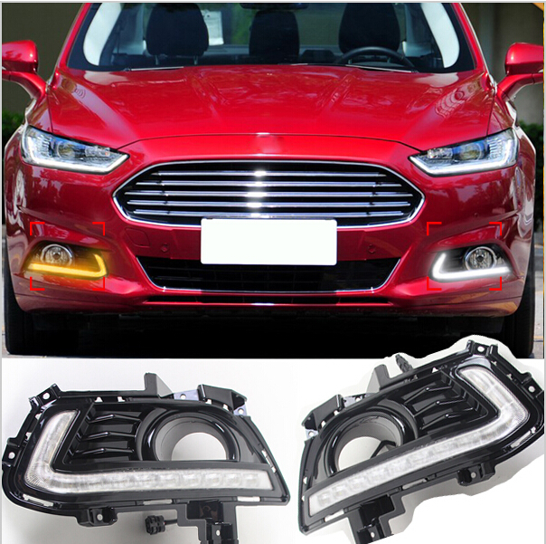 Free Shipping!DRL Styling for Ford Mondeo Fusion 2013-2016 LED Daytime Running Light Turn Signal function With Fog Lamp Hole tcart drl headlights with turn signal lights for ford mondeo 2013 2016 daytime running light auto led day driving fog lamp