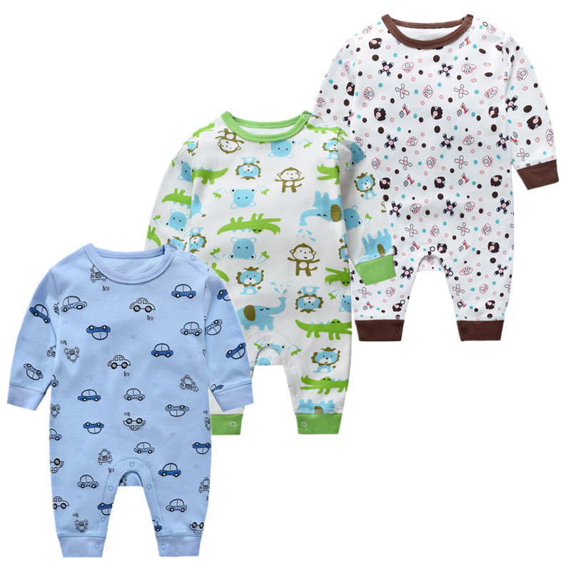 Newborn Baby Undershirt New Products Open Shoulder Gear Baby Wear Long Sleeve Jumpsuit Toddler Cotton Cartoon Climbing