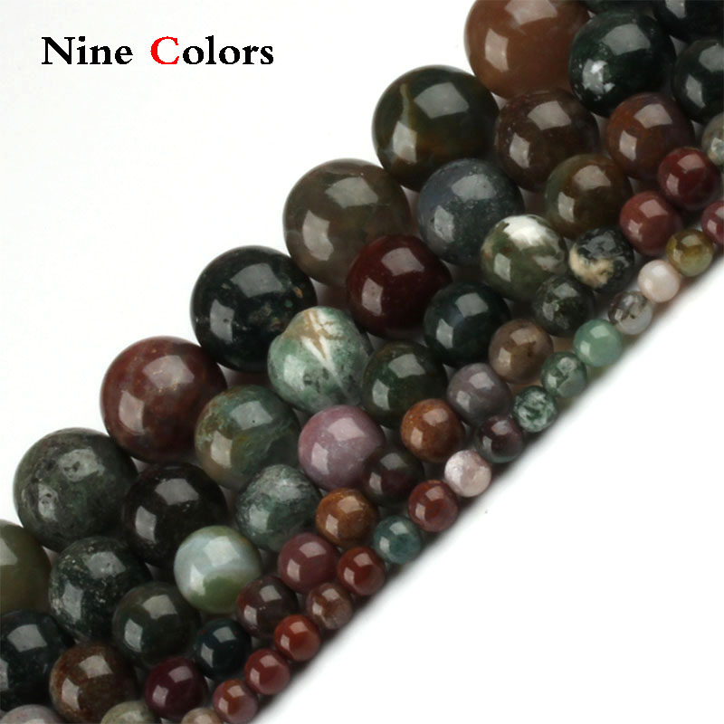 Natural round dark green colorful stone beads 4/6/8/10 / 12MM DIY handicraft jewelry bracelet necklace production -ST035
