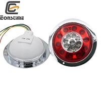 Eonstime 2pcs 12V 24V Car Side Lamp Light 19LED Truck Trailer Lorry Brake Stop Turn Tail