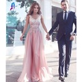 Beautiful Long Prom Dresses 2017 New Appliques Chiffon V-Neck Cap Sleeve  Formal Women Gown