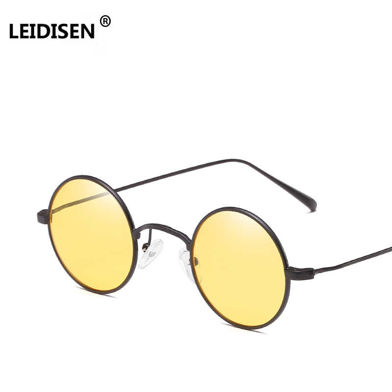 637431603 LEIDISEN Retro Small Round Sunglasses Men Pink Brown Yellow Lens Metal  Frame Fashion Sun Glasses For