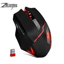 ZELOTES F-18 Dual-mode Gaming Mouse6 Niveau 3200DPI 500Hz Draadloze 7 Kleur Computer Muis 2.4GHz Met mini USB
