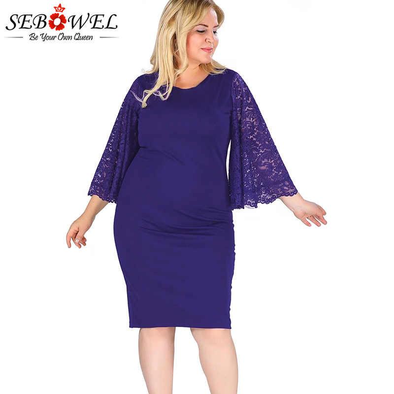 SEBOWEL Navy Plus Size Bodycon Lace Party Dress Women Flutter Sleeve Sexy  Lace Hollow Out Dress 02d882383f27