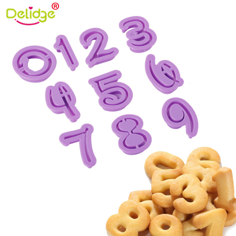 Delidge New 0 9 Number Letters Biscuit Cutter Fondant Cake Cookie Press Embosser Mould Birthday Decoration Tool