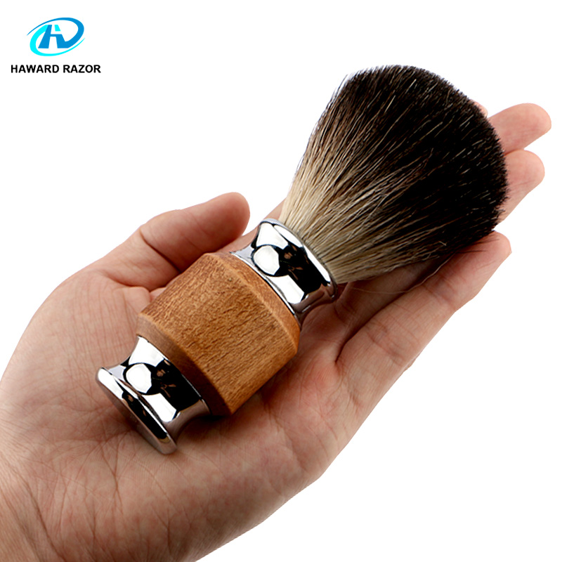 HAWARD RAZOR 100% Professional Badger Hair Men's Shaving Brush Wood & Zinc Alloy Handle Use For Shaving Razor