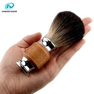 Image 2 - Haward escova de barbear para homens, badger puro, madeira e zinco, alça de liga, espuma, escova de barbear profissional escova